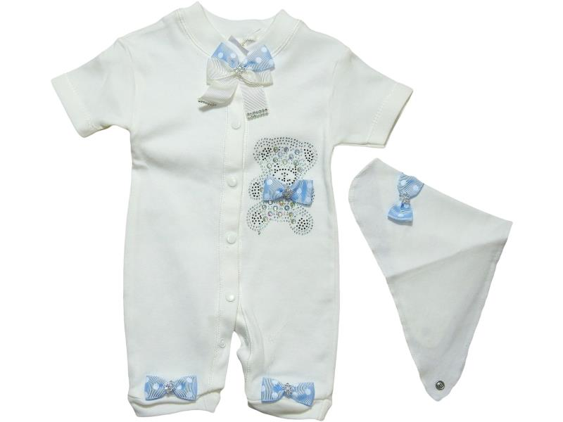 25028 Wholesale decorative bear embroidery romper with bandana set for girl baby clothes (62 cm)
