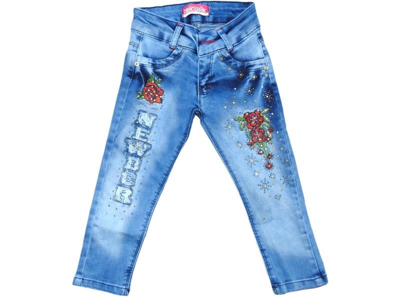 2602 Wholesale flower printed denim jeans pant for girl kids clothes (1-2-3-4 age)