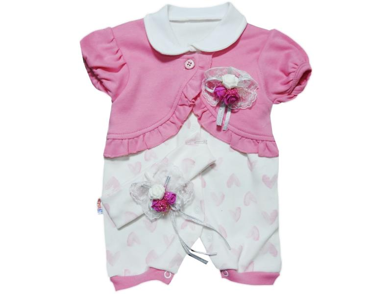 1072 Wholesale romper with head band set for girl baby clothes (3-6-9-12 month)