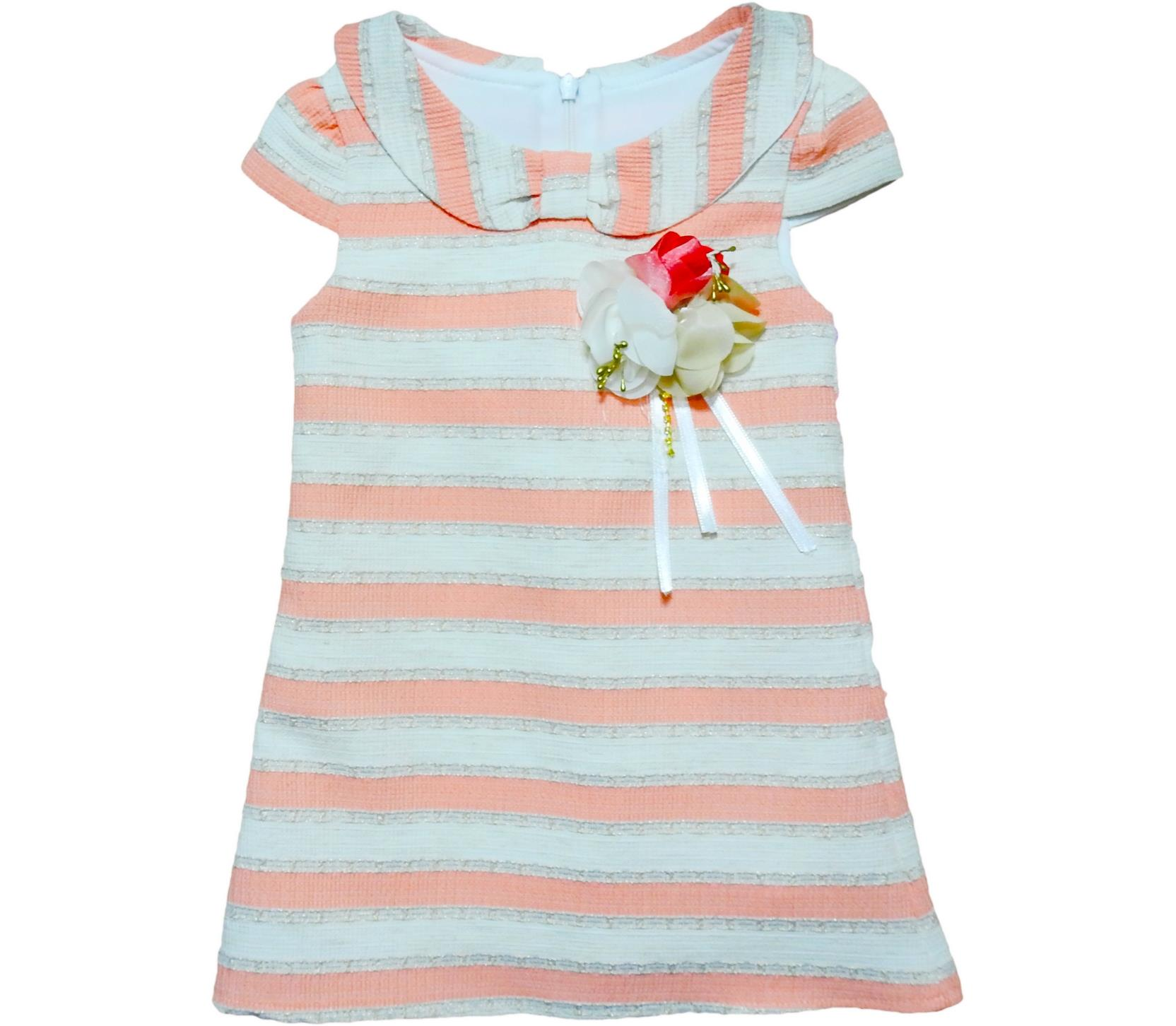 8121 Wholesale decorative flower applique striped dress for girl kids clothes (5-6-7-8 age)