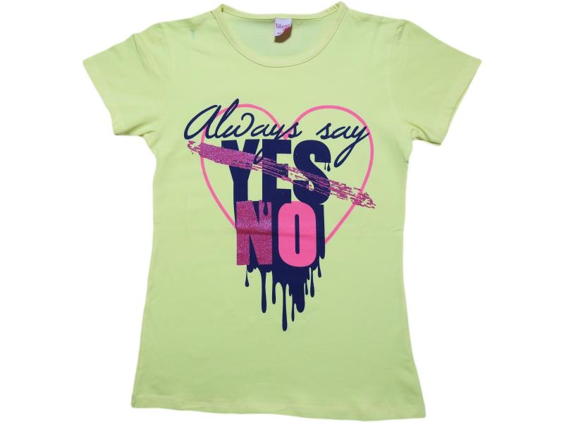 381 Wholesale children summer t-shirt yes no for women 6-8-10-12 age