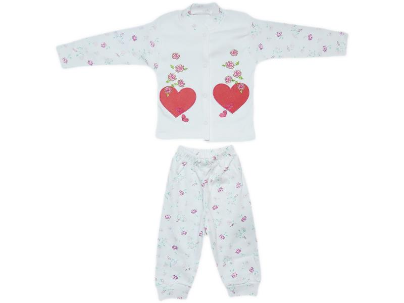 3007 Wholesale heart patterned pyjama set for girl baby clothes (3-6 month)