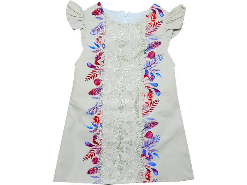 1307 Wholesale flowery embroidery dress for girl kids clothes (2-3-4-5 age)