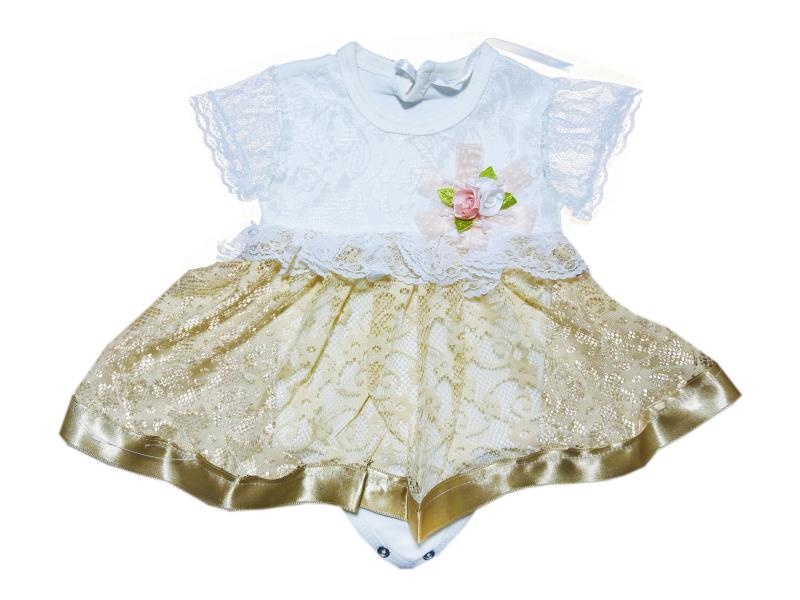 563 Wholesale elegant bodysuit dress with buttons for baby girls for 6-9-12 months