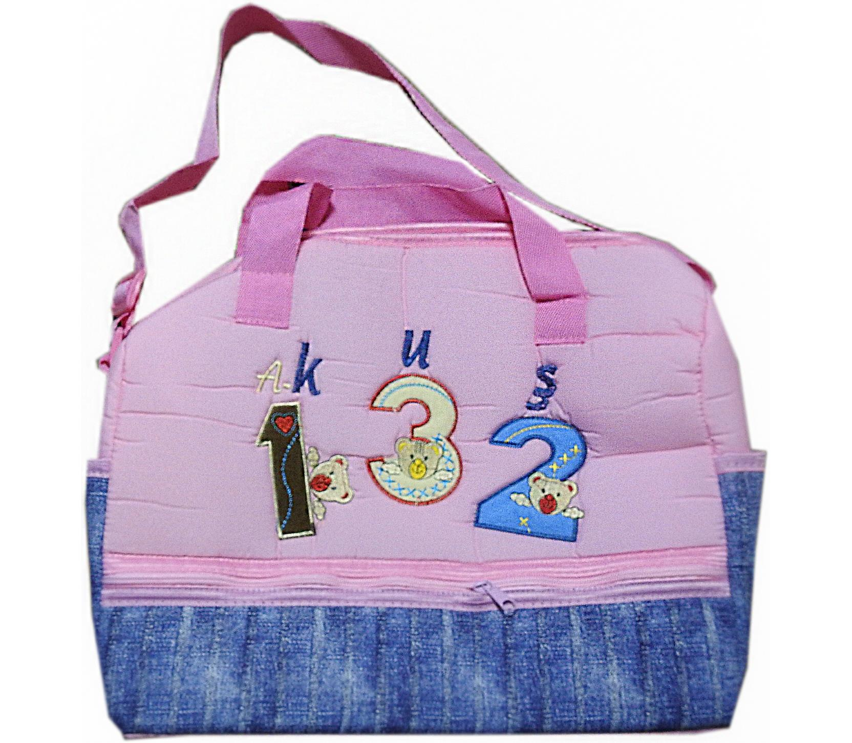 012 Wholesale diaper bag with embroidery 123