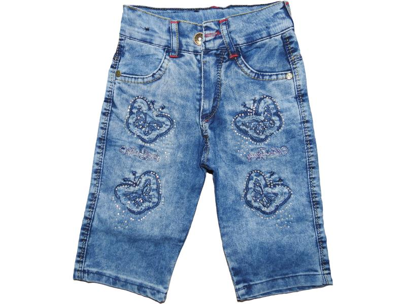 Wholesale baby denim capris with butterfly embroidery,for girls 3-4-5-6-7 age