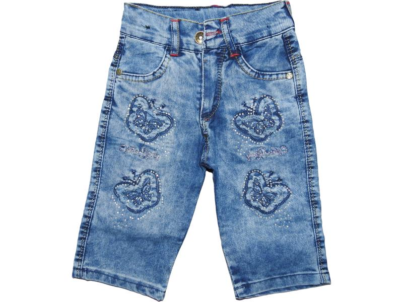 Wholesale baby denim capris with butterfly embroidery,for girls 8-9-10-11-12 age