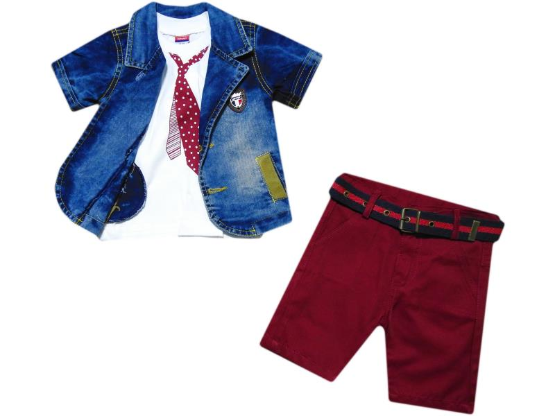 673 Wholesale children's summer three-piece suit, denim jacket with short sleeves + t-shirt + Capri pants with belt, for boys 1-2-3 age