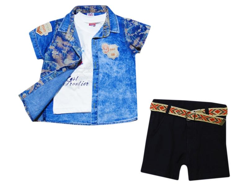 677  Wholesale summer three piece suit for children, shirt+t-shirt + shorts for boys 1-2-3 years