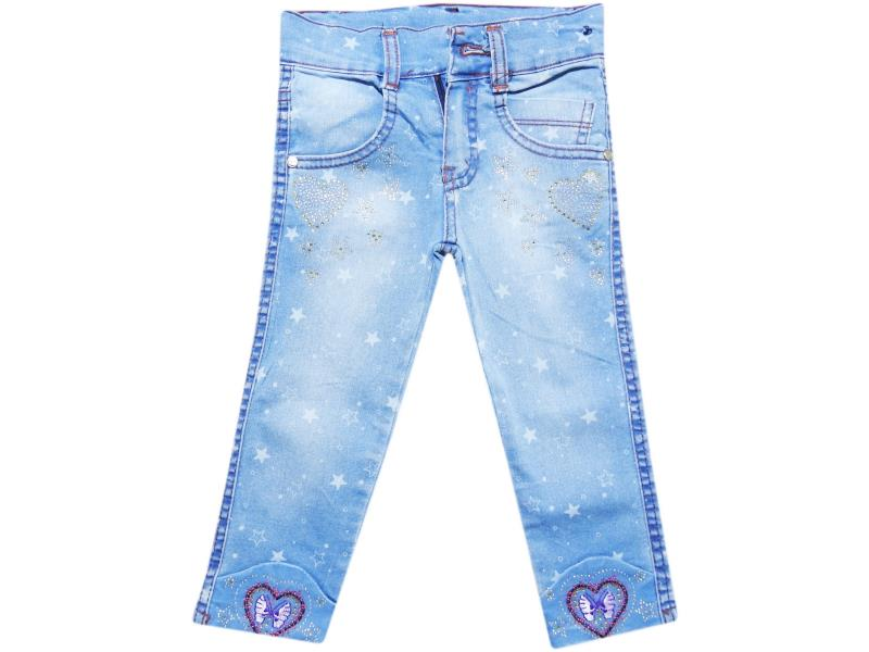 Wholesale baby denim pants with rhinestones, for girls 1-2-3-4 age