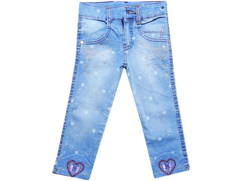 Wholesale baby denim pants with rhinestones, for girls 5-6-7-8 age
