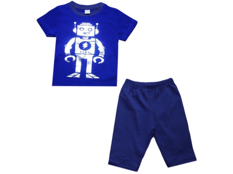 5015 wholesale children's summer set,t-shirt with robot print+shorts, for boys 1-2-3-4 years
