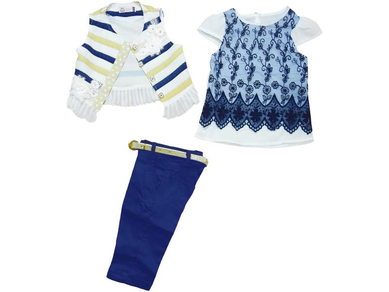 417 wholesale elegant suits three children,vest +blouse+breeches, for girls (2-3-4-5 age)