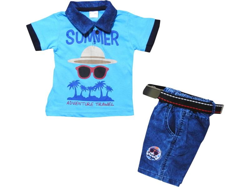 1055 Wholesale children's summer set-two, t-shirt with print summer adventure + shorts denim, for boys 1-2-3-4 years