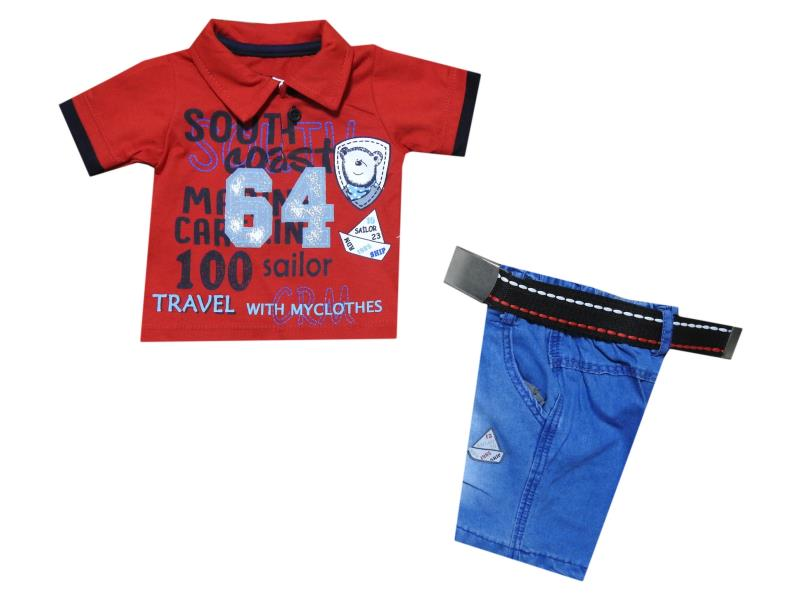 1030 wholesale children's summer suit-two,Polo shirt with print 64+denim shorts, for boys 3-6-9-12 months