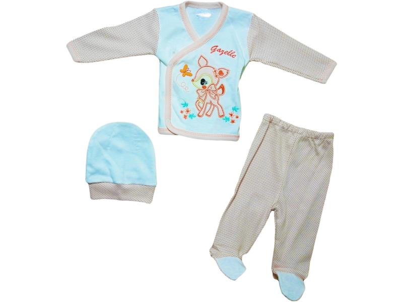 9104 Wholesale set newborn vest with Gazelle+cap+Romper 0-3 months