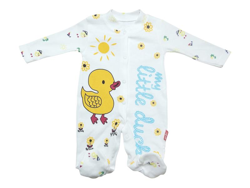 "3206 wholesale baby rompers with print ""Duckling"", for kids 3-6-9 months"