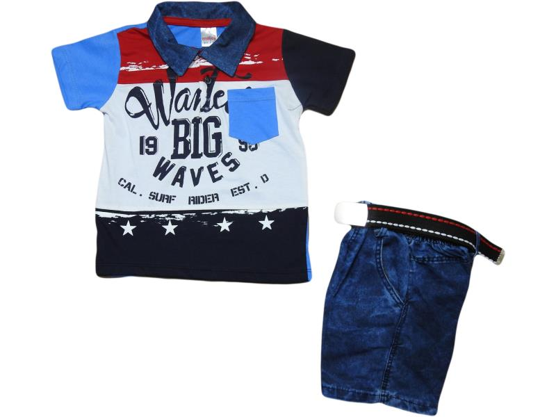 Wholesale costume-two,children's, Polo shirt big waves+Capri denim, for boys 5-6-7-8 years