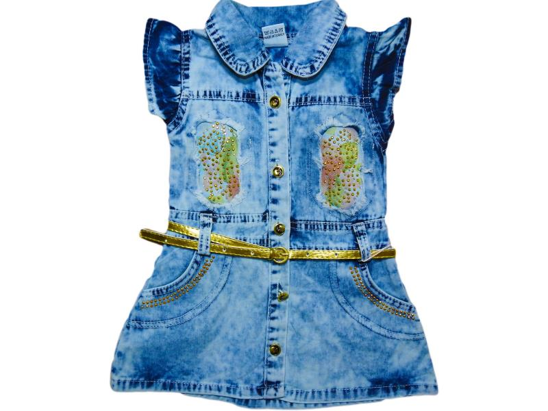914  Wholesale baby dress denim with belt, for girls 2-3-4-5 age