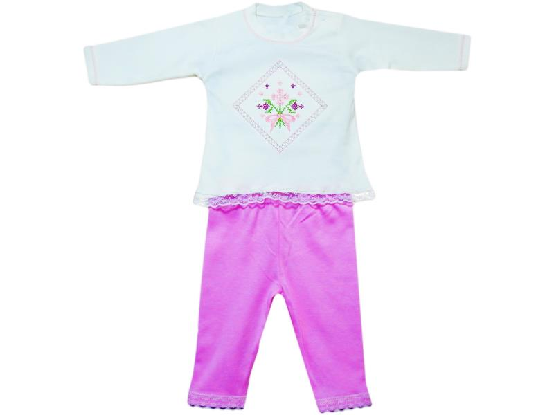 114 WHOLESALE CANVAS FLOWERY EMBROIDERY T-SHIRT AND TROUSER DOUBLE SET FOR GIRL (6-9-12 MONTH)