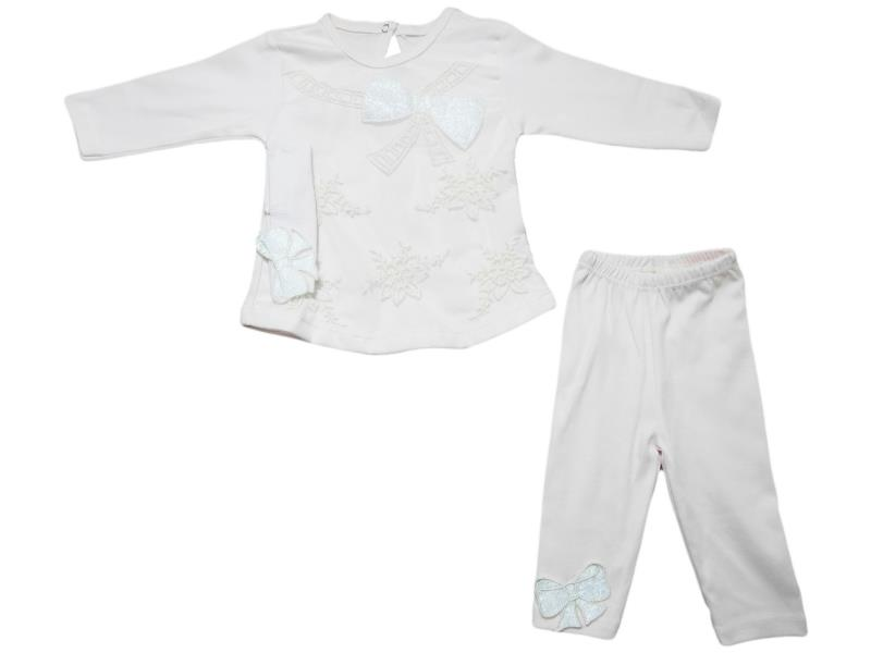 Wholesale flower applique sweat and trouser double set for girl (9 month)