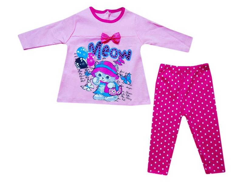 257 Wholesale children's two-piece suit, blouse with print meow + leggings for girls for 9-12-18 months