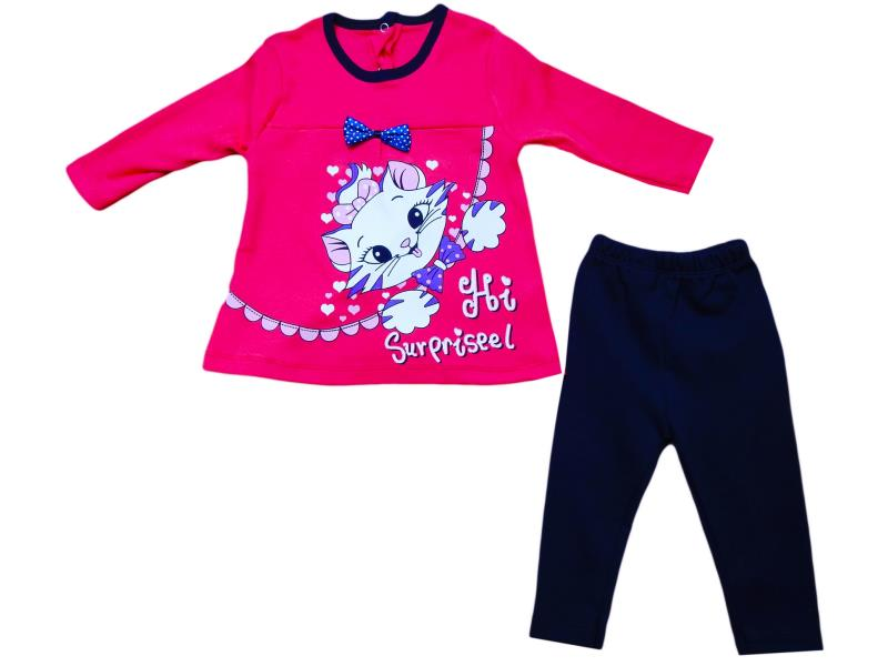 255  Wholesale children's two-piece suit, blouse with kitten print+leggings for girls for 9-12-18 months