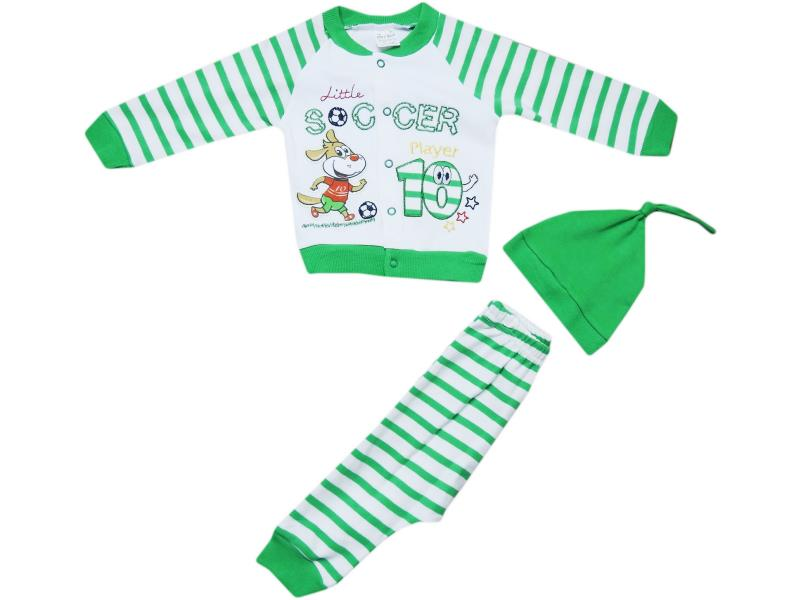 652 Wholesale children's set-two with a cap, blouse with a print soccer + pants, for boys for 6-9-12 months