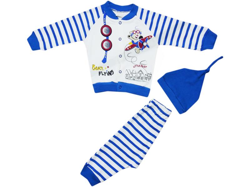 653 Wholesale children's set-two with a cap, blouse with a print of a bear on the plane+pants, for boys for 6-9-12 months