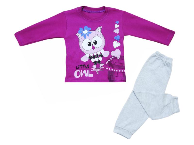 102 wholesale children's two-piece suit,t-shirt with owl+pants print, for girls for 12 months
