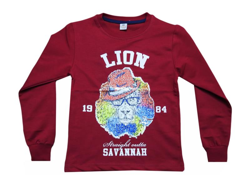 5450.1  Wholesale children's t-shirt with print lion, long sleeve, for boys 10-12-13-14-16 age