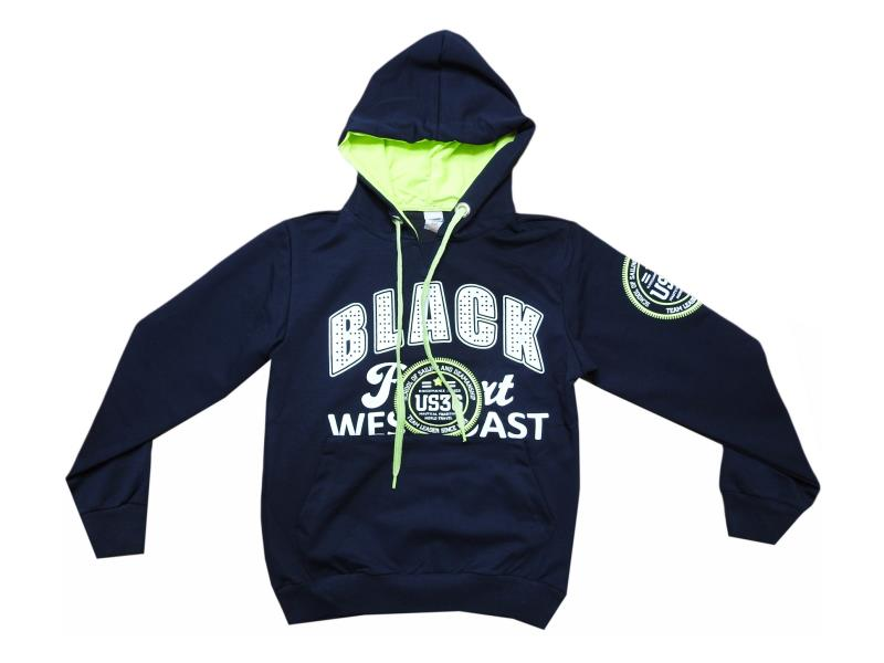 5454.0 wholesale children's sweater with hood and print black, for boys and girls 7-8-9-10 age