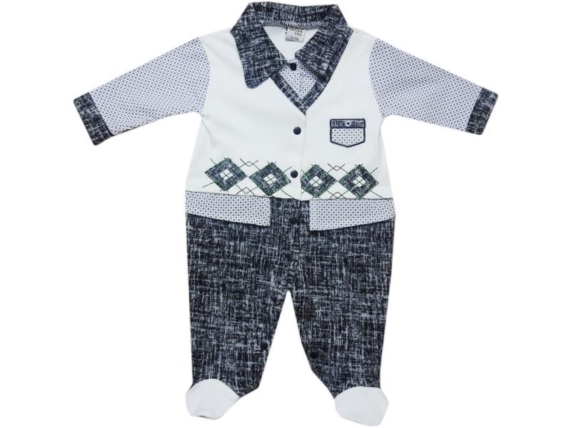 3308 Wholesale children's dressy jumpsuit with decorative sweater for newborn boys for 3-6-9 months