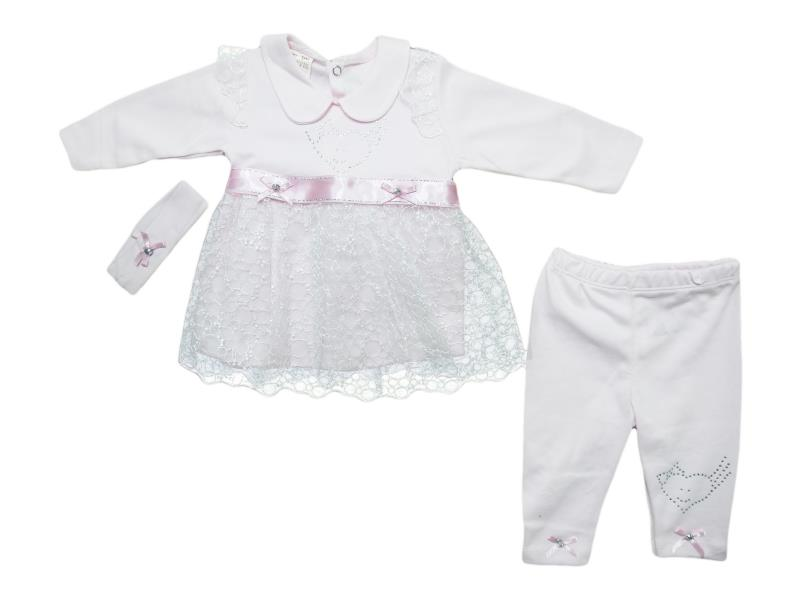 61010 wholesale children's two-piece suit with hairband,dress+pants, for newborn girls for 3-6 months