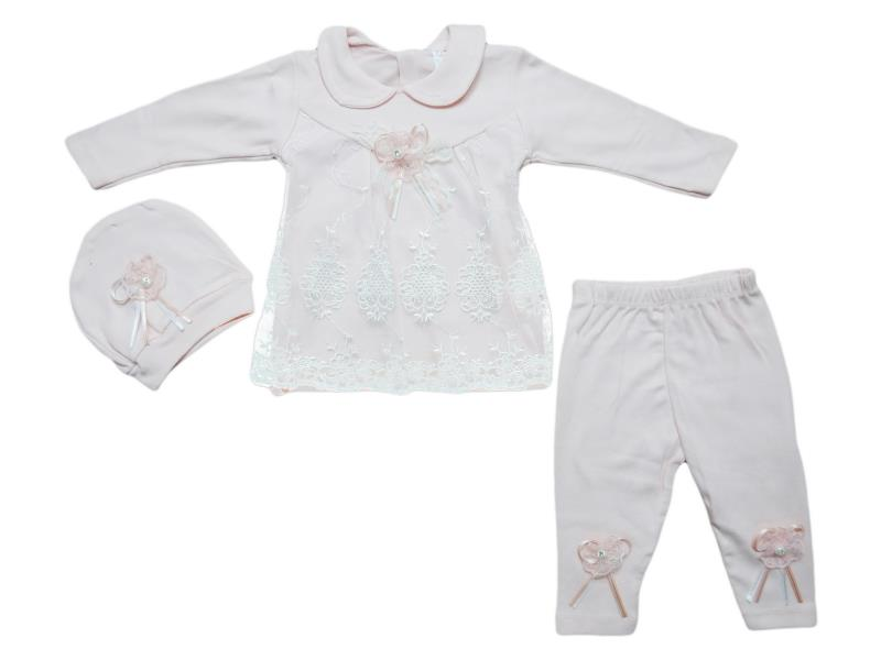 61011 wholesale children's two-piece suit with cap,dress+pants, for newborn girls for 3-6 months