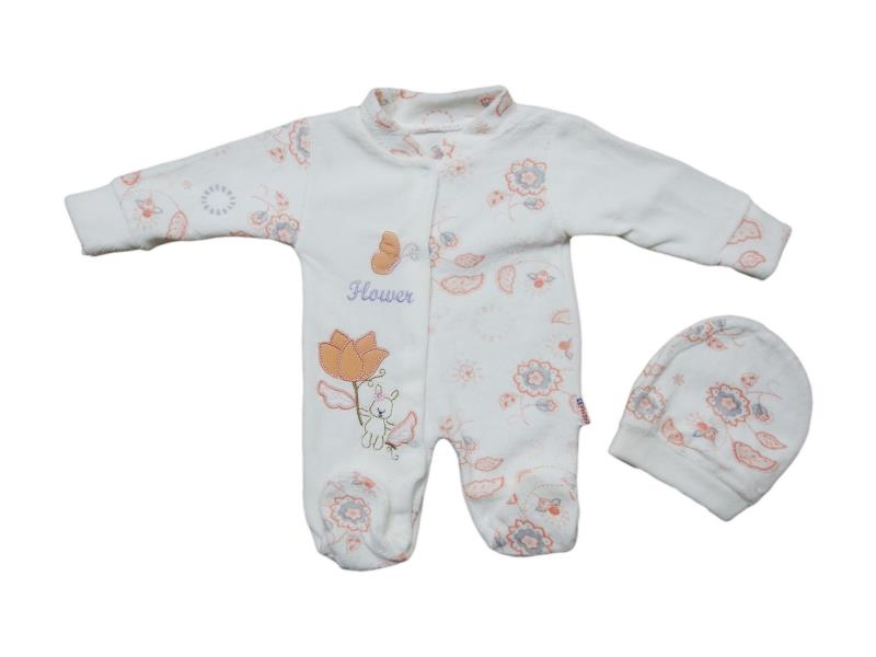Wholesale baby velour jumpsuits with flowers, for girls 3-6-9 months