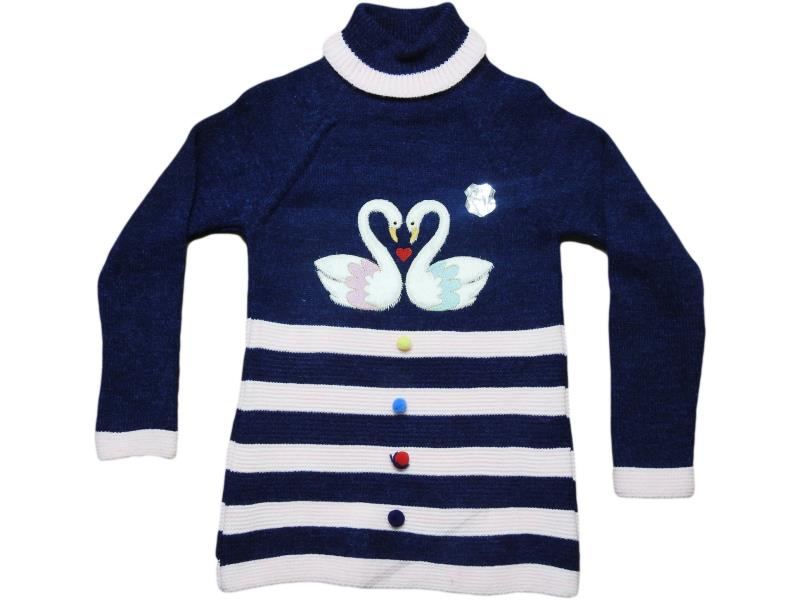 5052 wholesale children's long knitted pullovers,with embroidery of two swans, for girls for 5-7-9 years
