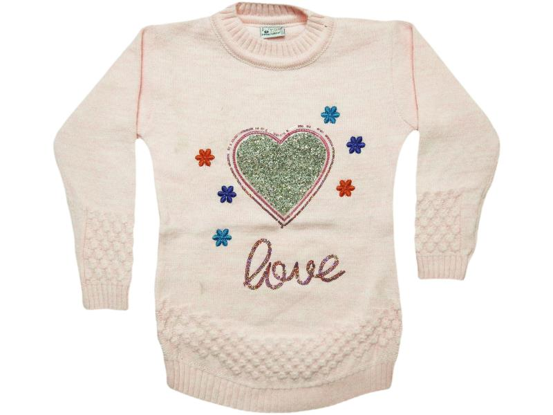 807 heart embroidered sweater for girl babies 4-6-8 age