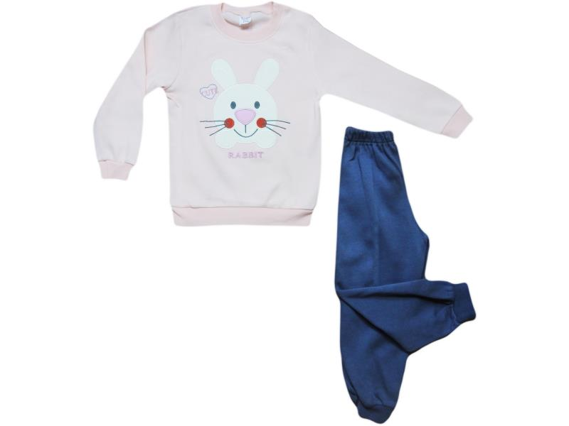 190 two piece set  rabbit embroidered  for girl babies  1-2-3 age