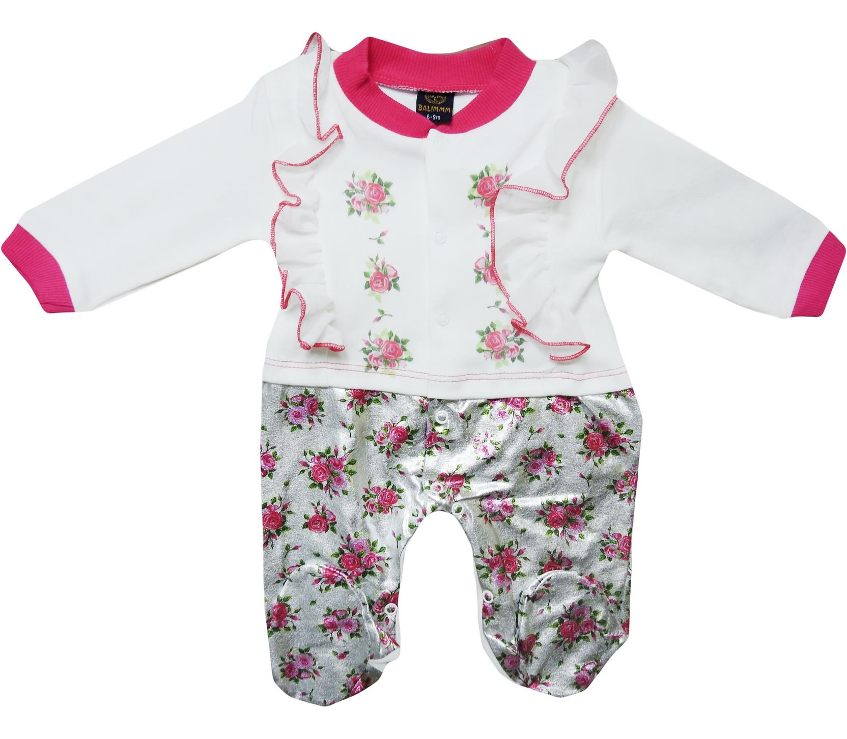 115 foil print overalls for girl babies 3-6-9 month