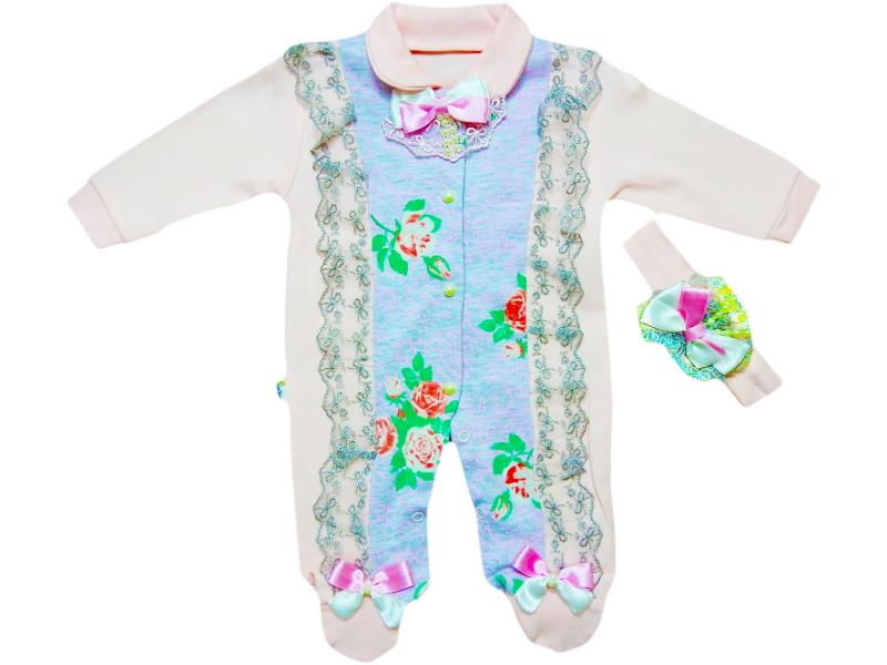 417 snood detailed overalls for girl babies  3-6-9 month