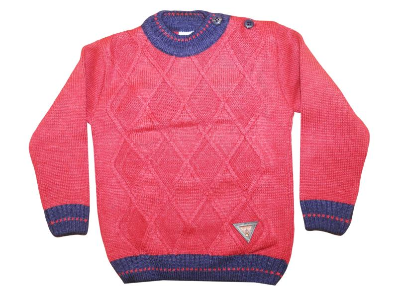 118 Plaid detalied sweater for boy babies 1-2-3 age