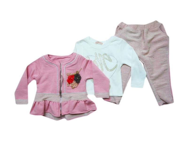 18303 Wholesale quality and cheap triple piece set for girl set  2-3-4-5 age