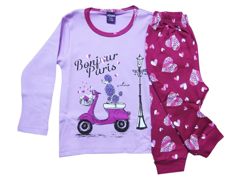 717 wholesale baby pajamas with bonjour paris print,for girls 1-2-3 years Old
