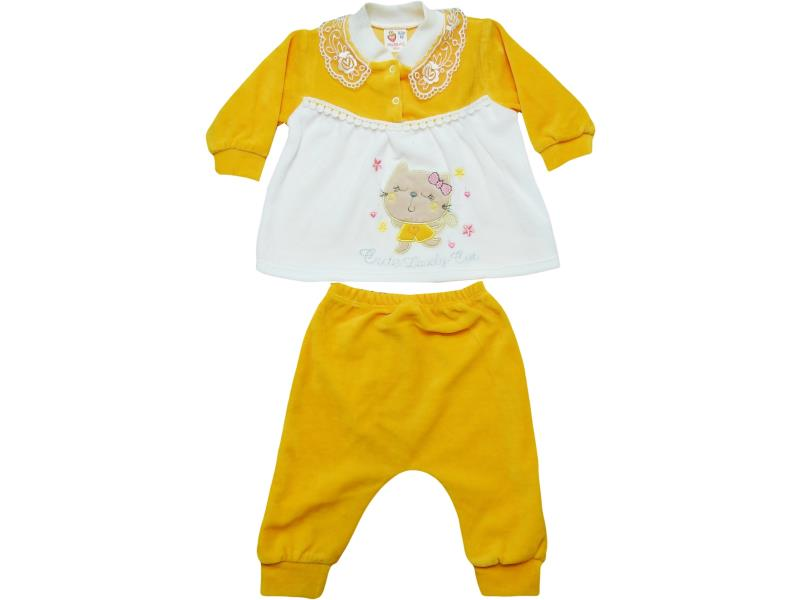 6000 Velvet detailed and cat printed set for girl babies  3-6 month