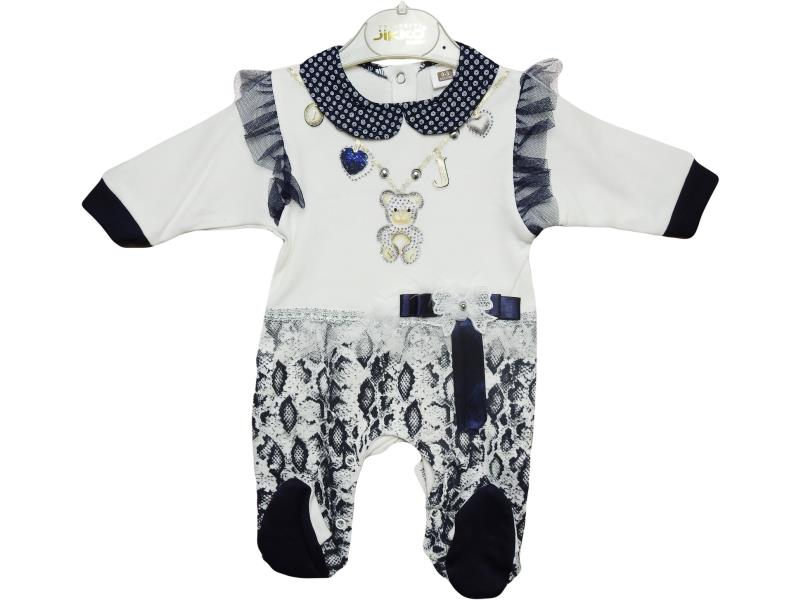 602 Wholesale bear printed  overalls for baby  3-6-9 month