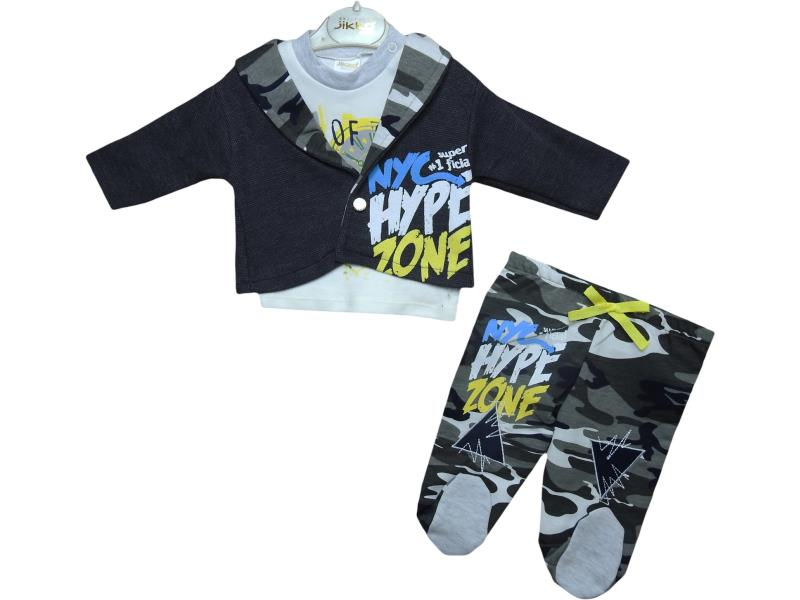 1046 HEYPE ZONE printed set for boy babies  3-6-9 month