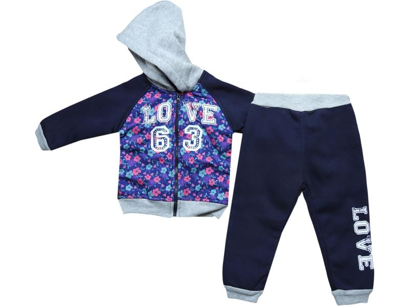 8763 Two piece '63 love' set for girl babies 2-3-4 age