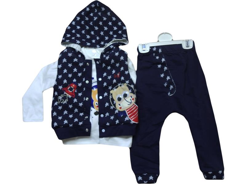 5036 body, sweatpant and vest with hood set for toddler boys with stars printed 9-12-18-24 months