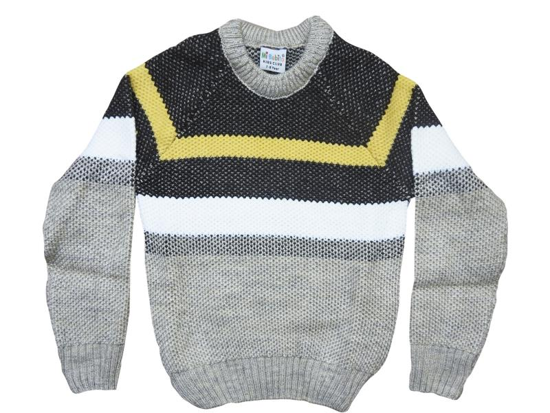 2056 wholesale children's winter pullover in a strip, for boys 6-8-10 years